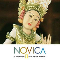 Handcrafted Crocodile Wood 'Legong Kraton Dance' Sculpture (Indonesia) - Thumbnail 2