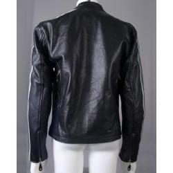 Leather Men's Grey Arm Stripes Motorcycle Jacket - Thumbnail 2
