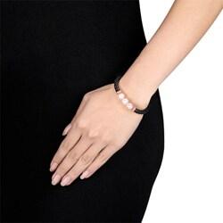 Miadora Goldtone Pink Freshwater Pearl Leather Bracelet (9-10 mm) - Thumbnail 2