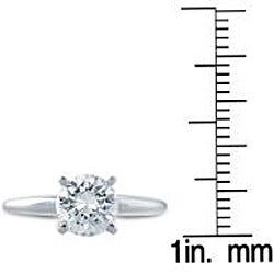 14k White Gold 3/4ct TDW Clarity-enhanced Diamond Solitaire Engagement Ring (G-H, SI2-SI3) - Thumbnail 2
