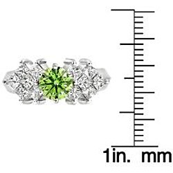 14k White Gold 1 5/8 ct TDW Green and White Diamond Ring (SI2, VS2) - Thumbnail 2