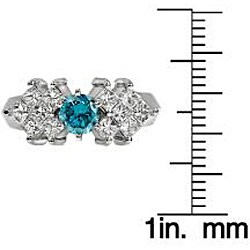 14k White Gold 1 1/4ct TDW Blue and White Diamond Ring (SI2) - Thumbnail 2