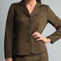 Allyson Cara Women's Dark Brown Skirt Suit - Thumbnail 2