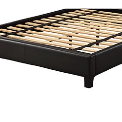 Sarajevo Dark Brown Vinyl Queen Platform Bed - Thumbnail 2