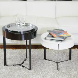 Jurra Black and White Lacquer Modern End Table Set