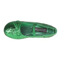 Pleaser Girl's Green Glitter Bow-tie Ballet Flats - Thumbnail 2