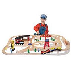 Melissa & Doug Wooden Railway Play Set - Thumbnail 2