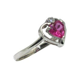 Gioelli Silver Created Pink Sapphire Heart Ring