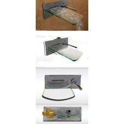 Kokols Bath Glass Wall-mounted Waterfall Chrome Faucet - Thumbnail 2