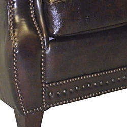 Salem Rustic Brown Italian Leather Sofa and Two Chair Set - Thumbnail 2