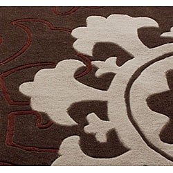 nuLOOM Handmade Pino Suzani Brown Rug (7'6 x 9'6) - Thumbnail 2