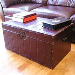 Classic Large Brown Faux Leather Wooden Steamer Trunk - Thumbnail 2