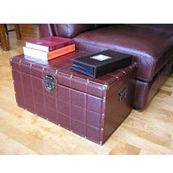 Classic Medium Brown Faux Leather Wooden Steamer Trunk - Thumbnail 2