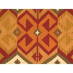 Hand-woven Anatolian Kilim Burgundy Wool Rug (5' x 8') - Thumbnail 2