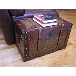 Cambridge Wood Trunk and Wooden Treasure Chest (Set of 2)