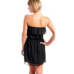 Stanzino Women's Plus Size Black Ruffle Strapless Dress