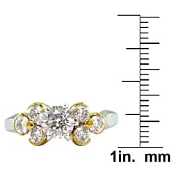 18k White Gold 1 1/2ct TDW Certified Clarity-Enhanced Round Diamond Engagement Ring (H-I,SI1) - Thumbnail 2