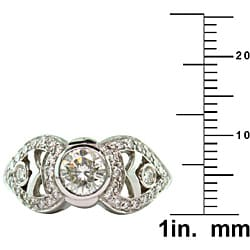14k White Gold 1 1/6ct TDW Certified Clarity-enhanced Round Diamond Engagement Ring (K-L,VS2 ) - Thumbnail 2