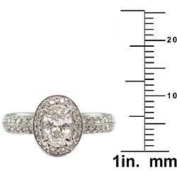 14k White Gold 1 1/10ct TDW Certified Clarity-Enhanced Diamond Engagement Ring (J-K,SI1 ) - Thumbnail 2