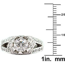 18k White Gold 2 1/10ct TDW Certified Clarity-Enhanced Diamond Engagement Ring (G-H,SI1) - Thumbnail 2