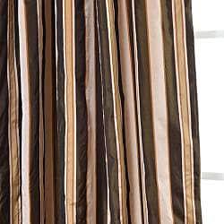 Exclusive Fabrics Café Du Jour Faux Silk Taffeta Striped 96-inch Curtain Panel - Thumbnail 2