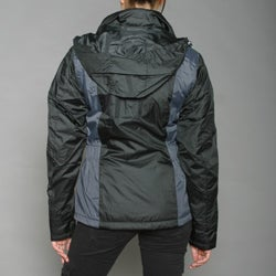 First Down Women's Black Two-tone Hooded Tech Jacket - Thumbnail 2