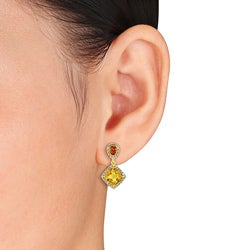 Miadora Yellow-plated Silver Citrine and 1/5ct TDW Diamond Earrings (G-H, I2-I3)