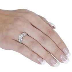 Silvertone Round-cut 2.9 mm Width Cubic Zirconia Ring - Thumbnail 2