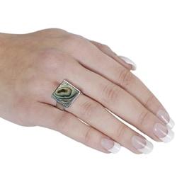 Silvertone Square-shaped Abalone Ring