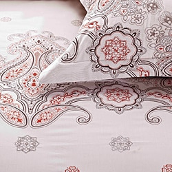 Paisley Embroidered Rustic King-size 3-piece Duvet Cover Set - Thumbnail 2