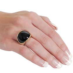 Goldtone Created Black Onyx Dome Ring - Thumbnail 2