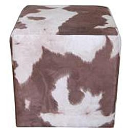 Cube Faux Western Pony Microfiber Ottoman