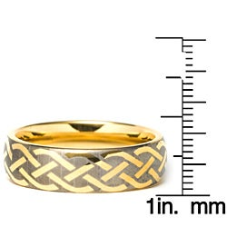 Men's Tungsten Carbide Gold Laser-etched Weave Ring (7 mm) - Thumbnail 2