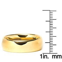 Men's Tungsten Carbide Gold Domed Ring - Thumbnail 2
