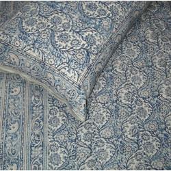 Kalamkari Indigo King-size Duvet Cover Set (India) - Thumbnail 2