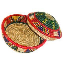 Multi-colored Circular Lid Basket (Ethiopia) - Thumbnail 2