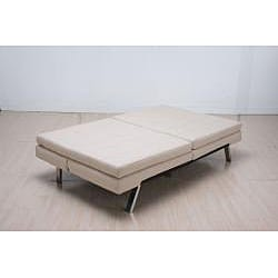 'Memphis' Cream Double-Cushion Futon Sofa/ Bed - Thumbnail 2