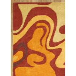 Alliyah Handmade Pompeain Red New Zealand Blend Wool Rug (4' x 6') - Thumbnail 2