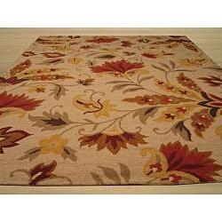 EORC Hand-tufted Wool Beige Sunset Garden Rug (5' x 8') - Thumbnail 2
