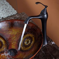 Kraus Tiger Eye Glass Vessel Sink and Ventus Faucet Oil Rubbed Bronze - Thumbnail 2