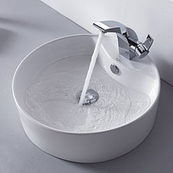 Kraus Illusio Single Lever Basin Faucet and Pop Up Drain with Overflow Chrome - Thumbnail 2