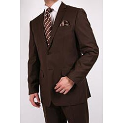 Ferrecci's Men's Brown Slim-Fit Suit with Tie - Thumbnail 2