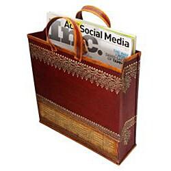Wrought Iron Embossed 'Shopping Bag' Magazine Holder (India) - Thumbnail 2