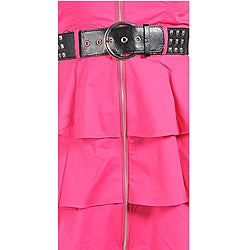 Stanzino Women's Fuchsia Belted Exposed Zipper Ruffled Dress