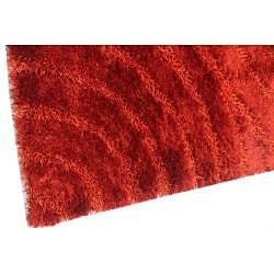 Hand-woven Red Shag Rug (8' x 10') - Thumbnail 2