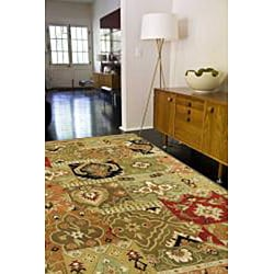 Hand-tufted Green/ Multi Wool Rug (9'6 x 13'6) - Thumbnail 2