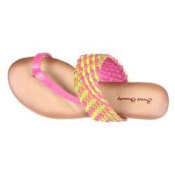 Refresh by Beston Women's 'Tokyo-15' Fuchsia Multicolor Braided Thong Sandal - Thumbnail 2