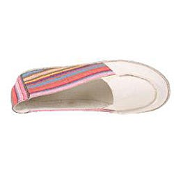 Refresh by Beston Women's 'Lala' Beige Striped Canvas Boat Shoes - Thumbnail 2