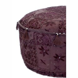 nuLOOM Handmade Casual Living Indian Round Purple Pouf - Thumbnail 2