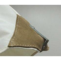 Lauren & Company Premium Natural White Leather Tipped Market Umbrella - Thumbnail 2